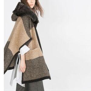 ZARA Oversized Knit Zip Up Faux Fur Hooded Poncho Sweater sz M